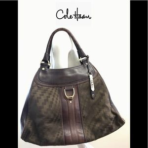 COLE HAAN Leather & Fabric Large Hobo Bag